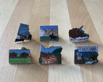 Souvenir State Tack Pins Oregon, Rhode Island, South Dakota