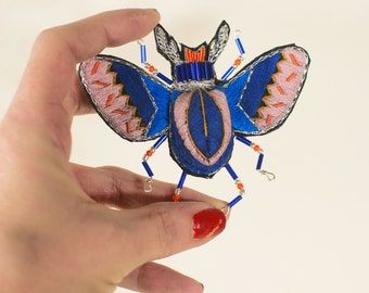 very large brooch in volume, insect beetle, volume, unique beadwork brooch hand embroidered