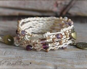 Beaded Crocheted Bracelet, Boho Wrap Bracelet, Crocheted Wrap Bracelet, Wrap Bracelet, Beaded bracelet, Beaded Wrap Bracelet