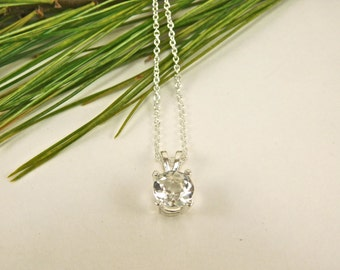 6.5 mm Faceted NY Herkimer Diamond-  - Faceted A Grade NY Herkimer Diamond -Quartz Crystal - Faceted Herkimer Diamond Pendant