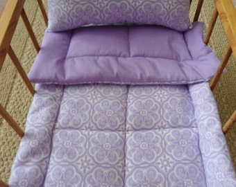 """Lavender Doll Bedding Set, Lavender Bedding, Doll Bedding, Doll Blanket & Pillow, Doll Blanket Set, Lavender Doll Bedding, 18"""" Doll Bedding"""