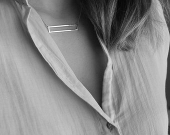 Necklace with rectangular pendant in sterling silver, necklace minimalist rectangle end