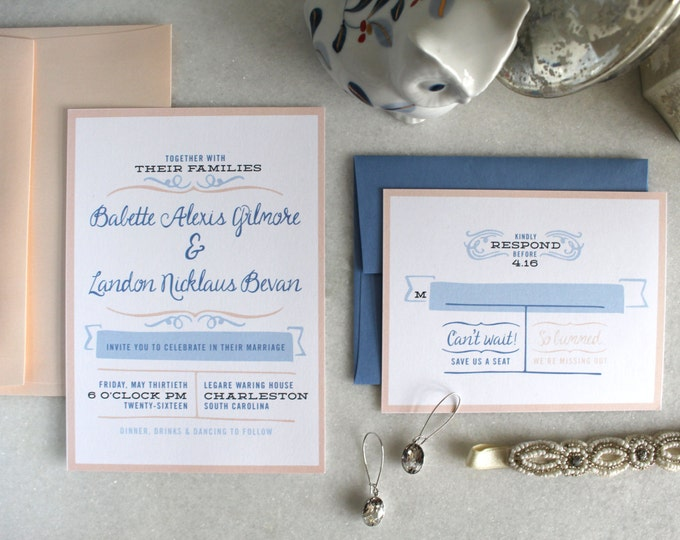 PRINTABLE Wedding Invitation Suite | Southern Belle in Peach & Blue