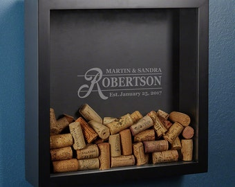 Custom Wine Cork Holder Shadow Box - Features the Claremore Design - Perfect Way to Display Wine Corks
