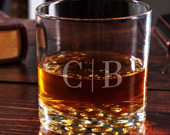 Quinton Monogram Engraved Whiskey Glass - Handsome Anniversary Gifts for Him - Personalized Glassware for Home Bars - Custom Whiskey Glass