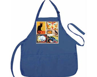 """Blue Craft Apron - Retro """"Cats"""" Collage- 3 Pocket Dark Blue Art Apron - Look artsy in the class or in the kitchen!"""