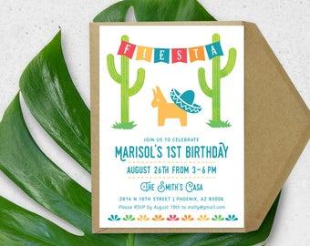 First Fiesta Invitation - Kid's Mexican Fiesta Birthday Invitation