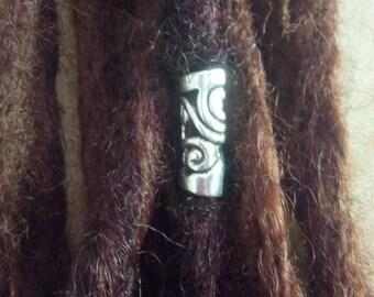 Silver plated barrel dread bead. 5mm hole Dreadlock bead. Hair jewelry. Dread schmuck.