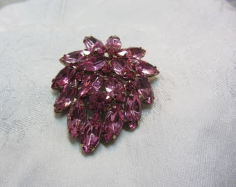 Vintage Hot Pink Rhinestone and GT Multi-tiered Brooch