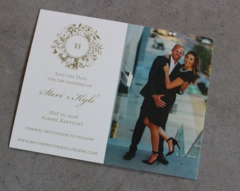 Victorian Wreath Save the Date Cards with envelopes