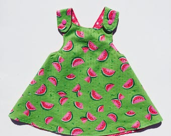 Watermelon Dress, Pink Polka Dot Dress, Infant Reversible Dress, Toddler Dress, Reversible Sundress, Reversible Pinafore