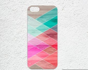 Geometric iPhone 6 case - Available for iPhone 7, iPhone 7 plus, iPhone 6s, iPhone 6 plus - blue, teal, pink geometric pattern -wood print