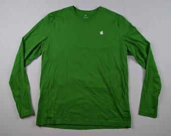 90s APPLE Computer Long Sleeve Casual Crewneck Shirt Green Mens Medium, Vintage Apple Shirt, Vintage Long Sleeve Shirt, Apple Shirt