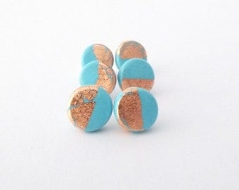 polymer studs, earrings, studs, jewellery, polymer clay, turquoise, gift, gift for her, small, simple, handmade, gold, fimo, pretty, cute