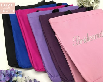 Set of 12 - Bridesmaid Gifts, Monogrammed Totes, Personalized Gift Tote Bags, Bridal Party Gifts, Sorority Gifts, Embroidery Totes