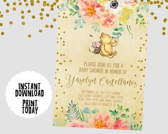 winnie the pooh baby shower invitations | etsy, Baby shower invitations
