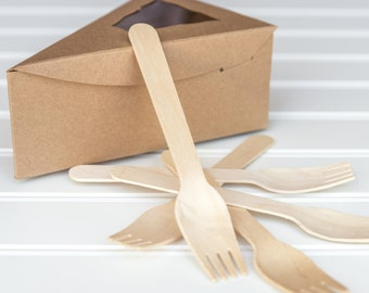 """25 Individual Kraft Pie Boxes with 25 Wooden Forks / 6 3/8"""" x 4 1/4"""" x 2 1/2"""""""