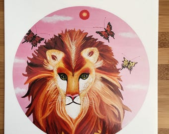 Art print of lion painting on glossy photo paper