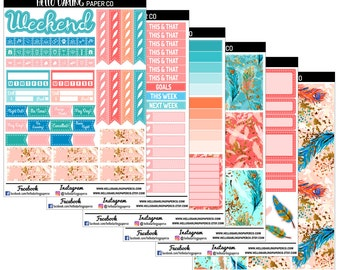 Feather Stickers, Whimsical Weekly Kit, Planner Weekly Kit, Erin Condren, Life Planner, Planner Stickers, Happy Planner, Agenda, K037