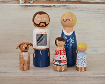 Family Peg Doll Personalized. Custom Peg Doll. Wood Doll Family. Gift Anniversary. Sugar anniversary. Wedding anniversary wishes.