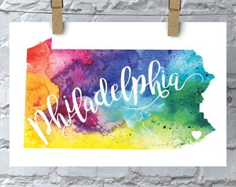 Custom Pennsylvania Map Art, PA Watercolor Heart Map Home Decor, Philadelphia or Your City Hand Lettering, Personalized Gift Print, 5 Colors