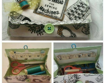 Sewing themed folding fabric box / purse / pouch (pouch contents not included)