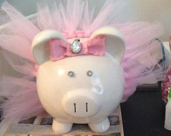 Large Pink Ballerina Tutu Piggy Bank