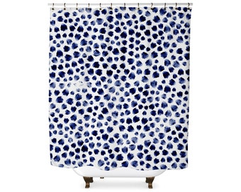 Indigo animal spots pattern shower curtain