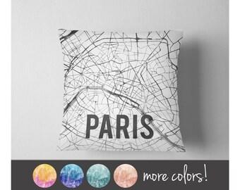 Watercolor Paris map throw pillow