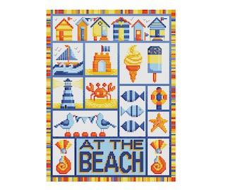 At the Beach - Durene J Cross Stitch Pattern - DJXS2216