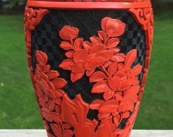 Mid Century Lacquer Cinnabar Vase / Vintage Chinese Cinnabar Vase