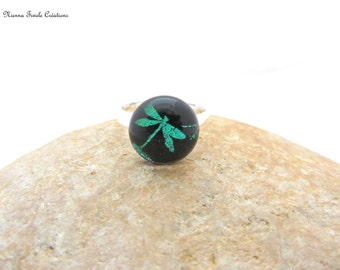 Dichroic glass jewelry, adjustable ring,french hand made,dichroic ring, dragonfly ring,unique ring,dragonfly,dragonfly jewelry