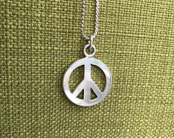 """Sterling Silver Peace Symbol Chain Necklace 28"""""""