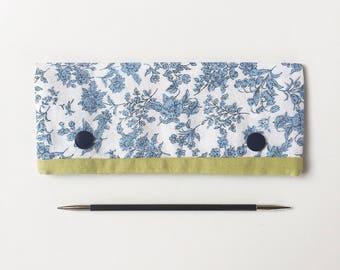 "15cm / 6"" DPN Holder / Case / Cosy in Blue Floral Linen for Knitting"