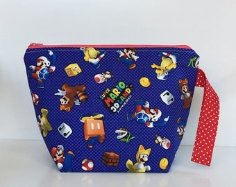 Super Mario 2 Skein Size STURDY Red Zip Project Bag with Red & White Polka Dot Handke for Knitting / Craft Travel