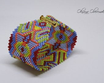 Oriental colorful bracelet beaded cuff Ethnic jewelry