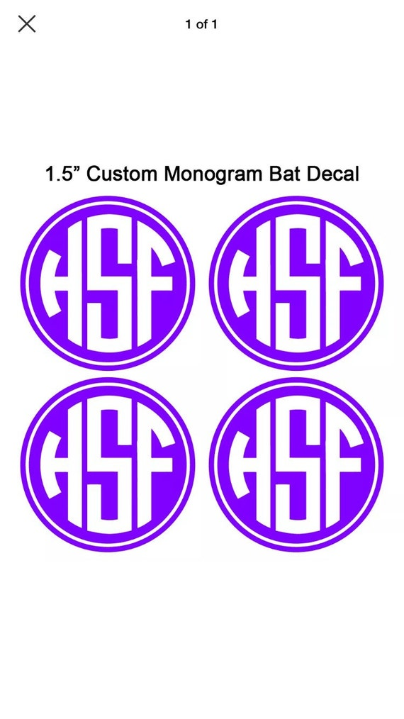 Softball custom monogram bat decal set