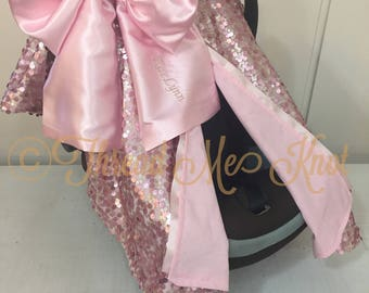 SALE PRICE |LUX| Dusty Rose & Light Gold Car Seat Canopy Light Pink Satin Bow with Slit