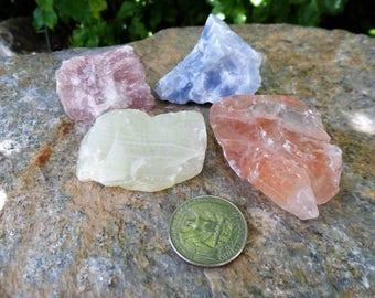 4pc Calcite, Green Calcite, Blue Calcite, Red Calcite, Pink Calcite