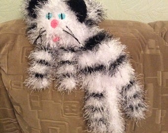 White and black Tabby cat scarf funny Cat scarf soft animal scarf funny scarf black and white scarf  kitty scarf, fluffy scarf fuzzy scarf