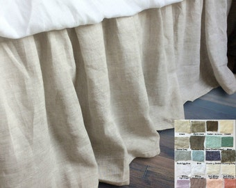 natural linen bedskirt, bed ruffles, linen dust ruffles, bed skirts, over 41 colors and patterns to choose, 15-24 drop or Custom Size