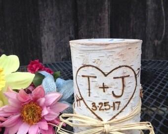 Birch Wood Candle, Birch Wedding Candle. Birch Wedding Centerpiece. Personalized Birch Candle. Birch Wedding Decorations, Wedding Gift