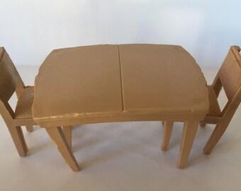 """Marx 1/2"""" Diningroom Table & Chairs vintage Dollhouse Furniture plastic"""
