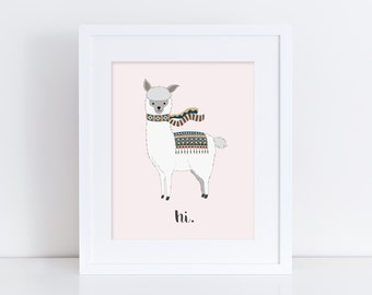 Hi Alpaca - Nursery Print - Children's Wall Art - Baby Nursery Decor