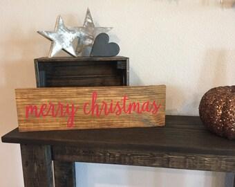 "Pallet Merry Christmas Sign - 5.5""x19"" - Holidays Santa Wreath Family Love Rustic Decor Farmhouse Style Fixer Upper Wooden (Item - HS100)"