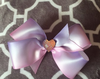 Large ombre pink and purple dog bow