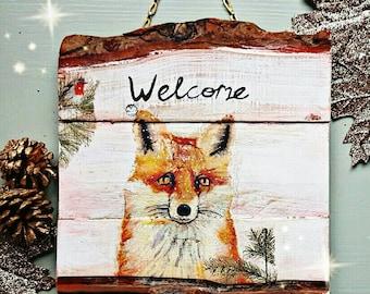 Fox Welcome Sign Fox Home Decor Rustom Home Decor Reclaimed Wood Plaque