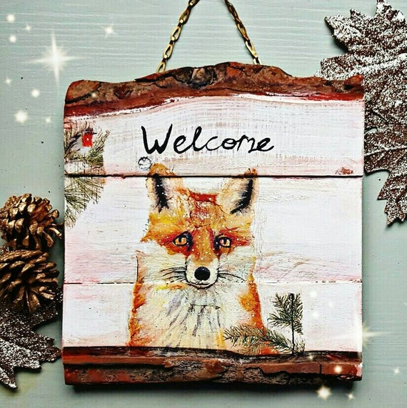 Fox Welcome Sign Fox Home Decor Rustom Home Decor Reclaimed