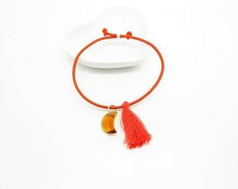 Bracelet adjustable minimalist silver swarovski and leather tassel - various designs