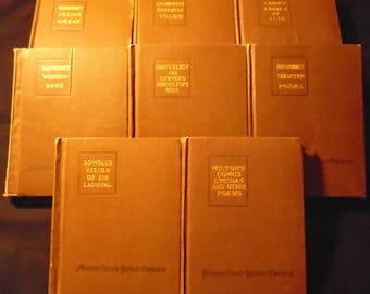 Macmillan's Pocket Classics Collection of 8 Fiction Vintage Books Goldsmith Hawthorne Milton Browning Lowell Gray Cowper Lamb Shakespeare